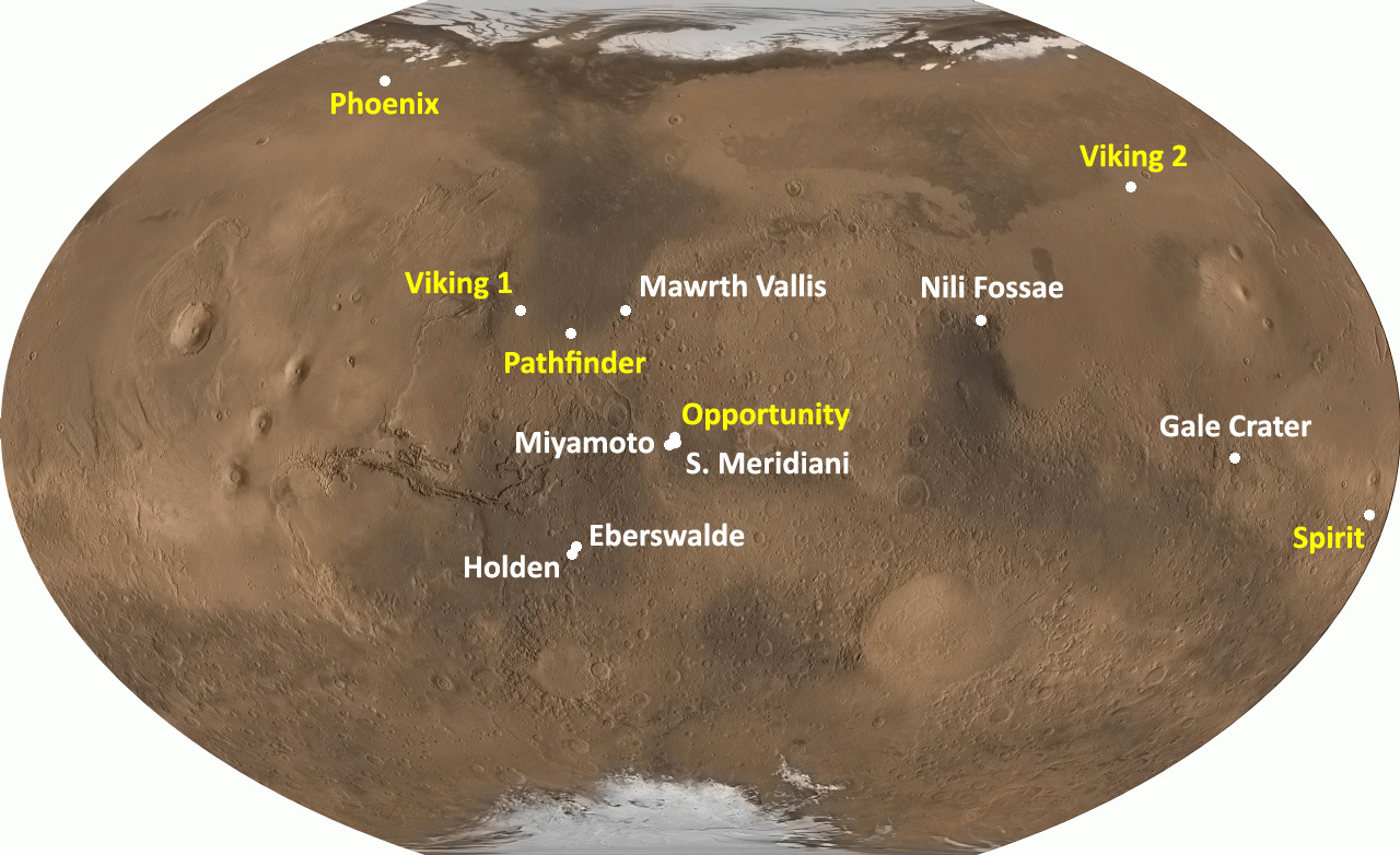 mars rover landing map - photo #22