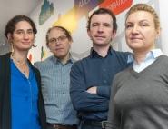 Equipe Ariane 6 embedded à la Direction des Lanceurs. Sur la photo de gauche à droite : Carole Deremaux, Serge Saubadine, Jean-Yves Gourmond et Anne Lekeux.