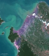 Spot 5 view of Banda Aceh, coloured composition ; credits Spot Image / Sertit