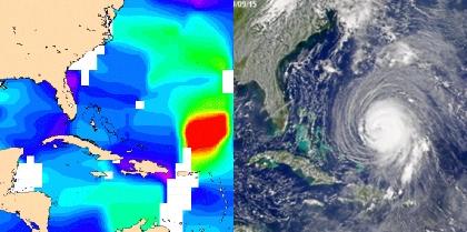 L'ouragan Isabel a frappé les États Unis le 18 septembre 2003. Il a été suivi de près par tous les moyens satellites. A gauche, une carte de vitesse du vent issue de l'altimètre de Jason-1 (CNES/CLS) A droite, une carte du satellite SeaWIfs (NAS...