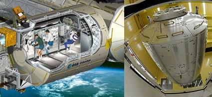 A gauche, vue d'artiste du laboratoire Columbus. Crédits : ESA/D. Ducros. A droite, transport du module au Kennedy Space Center. Crédits : ESA/S. Corvaja