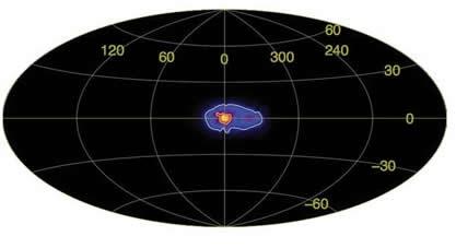 La première carte complète montrant l'annihilation matière/antimatière, en 2005. (Crédit J. Knödlseder – CESR – septembre 2005).