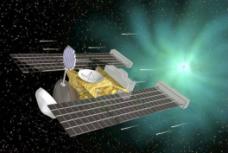 La sonde Stardust est passée à seulement 240 km du noyau de Wild-2 en janvier 2004 pour piéger les minuscules grains dans sa cible octogonale ; vue d'artiste, crédit : NASA