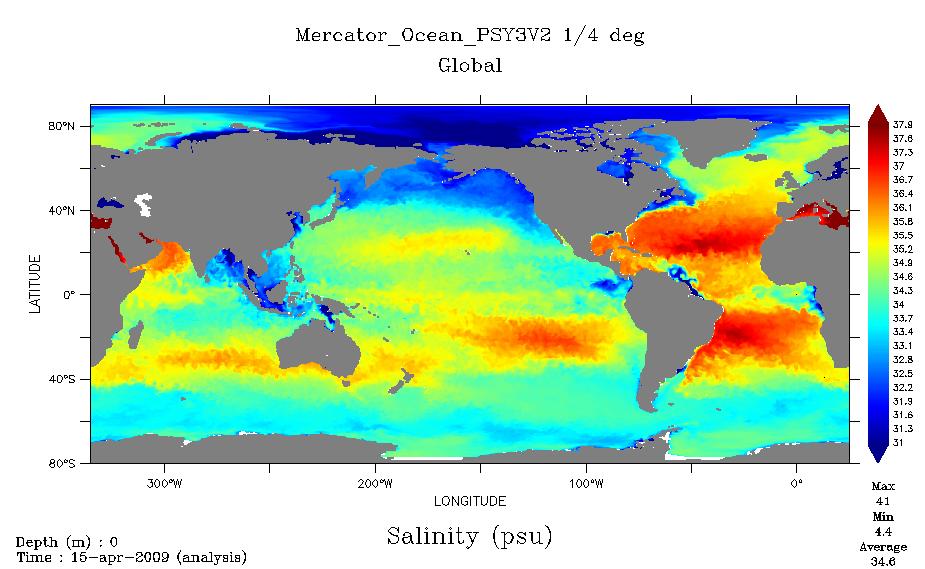 Analyse de l'océan en temps réel typique fourni par Marcator Océan depuis 2005, ici le paramètre mesuré est la salinité des eaux à la surface du globe en date du 15 avril 2009. Crédits : Mercator Océan.