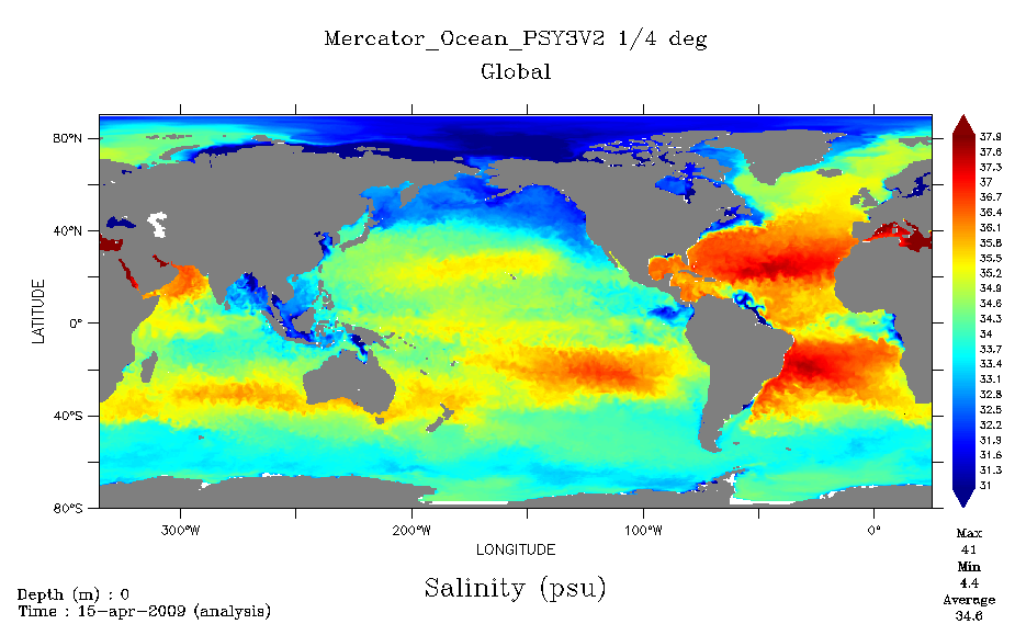 Typical real-time analysis of the ocean supplied by Mercator Ocean since 2005. Here, the parameter measured is global surface-water salinity on 15 April 2009. Credits: Mercator Ocean.