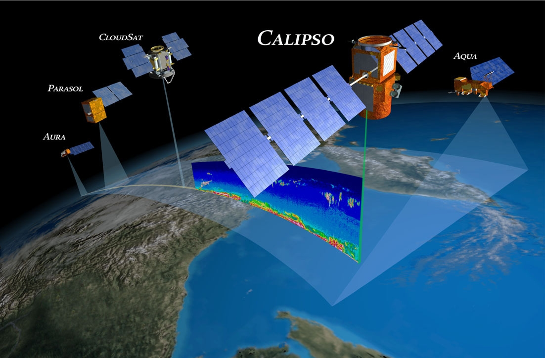 CALIPSO is part of the A-Train constellation with 4 other satellites. Credits: NASA.