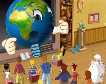 Le globe terrestre qui servira aux enfants de véhicule et les transportera aux quatre coins du Monde pour mener leurs enquêtes journalistiques. Crédits : Procidis. Dessin : Jean Barbaud