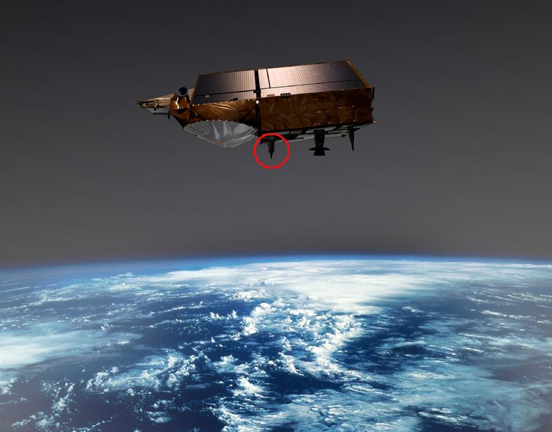 Antenne réceptrice DORIS sur le satellite Cryosat-2. Crédits : ESA/Ill. EOS Medialab.
