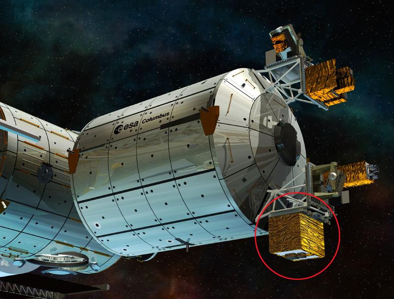 ACES à l'extérieur du module européen Columbus de l'ISS. Crédits : ESA/Ill. D. Ducros.