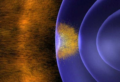 Le champ magnétique terrestre secoué par le vent solaire. Crédits : ESA
