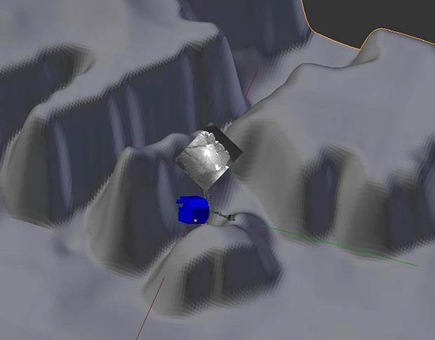 Représentation par le SONC (CNES, Toulouse) de la position supposée de Philae en fonction du modèle de terrain et des images du panorama réalisé par CIVA ; l'une des images de CIVA est plaquée sur ce modèle. Crédits : ESA/Rosetta/Philae/CNES...