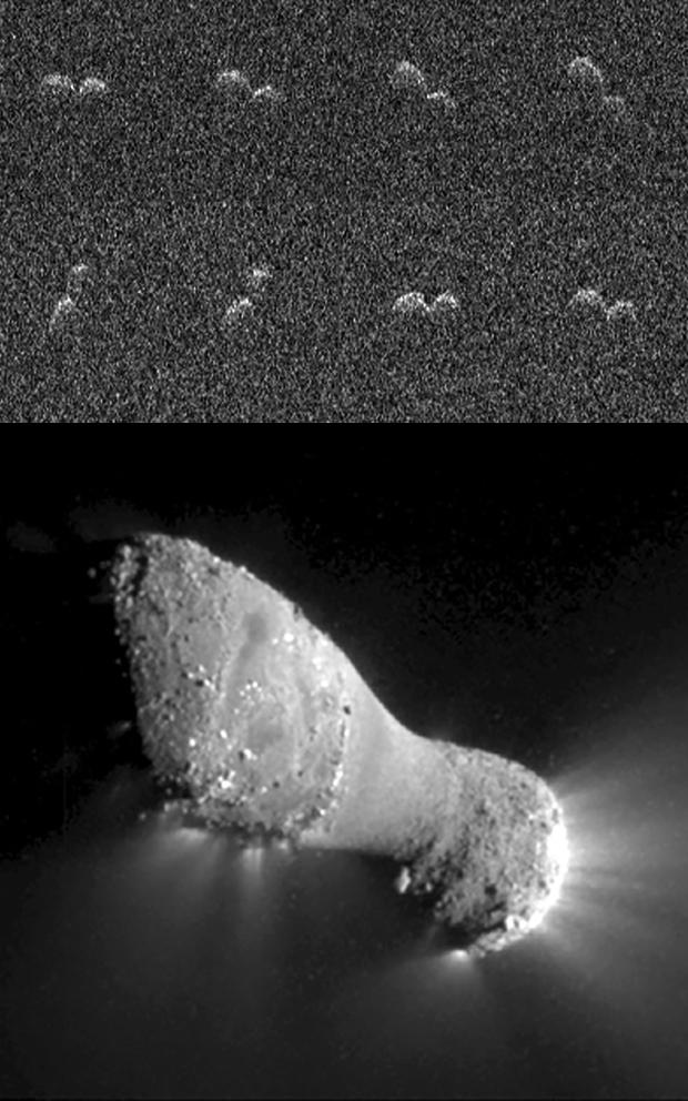 Les noyaux des comètes 8P/Tuttle et 103P/Hartley 2 présentent une structure bilobée comme celui de 67P/Churyumov-Gerasimenko. Crédits : Arecibo Observatory Planetary Radar/NASA/EPOXI