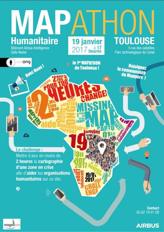 Affiche du Mapathon de Toulouse - janvier 2017