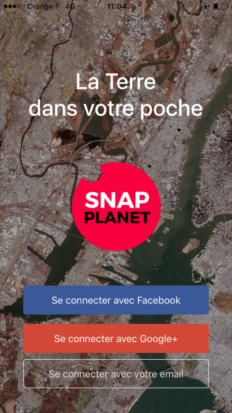 Application SnapPlanet - capture écran