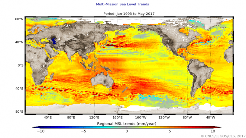 Variabilité régionale de la hausse du niveau des océans