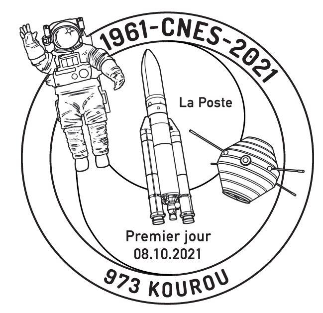 """Exemple du timbre CNES """"1er jour"""""""
