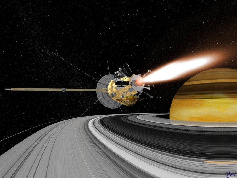 Insertion de Cassini en orbite de Saturne. Crédits : NASA/JPL/Caltech