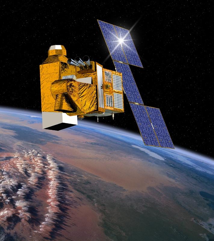 Vue d'artiste du satellite HELIOS IIA. Crédits : CNES/ill.Activ Design