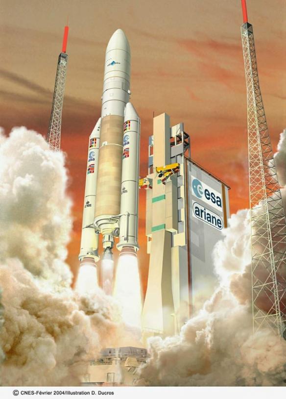 Artist's view of Ariane 5 ECA. crédits : CNES/Illustration D. Ducros, 2004