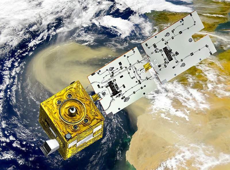 Vue d'artiste du satellite PARASOL. Crédits : CNES/Ill. D. Ducros, 2004
