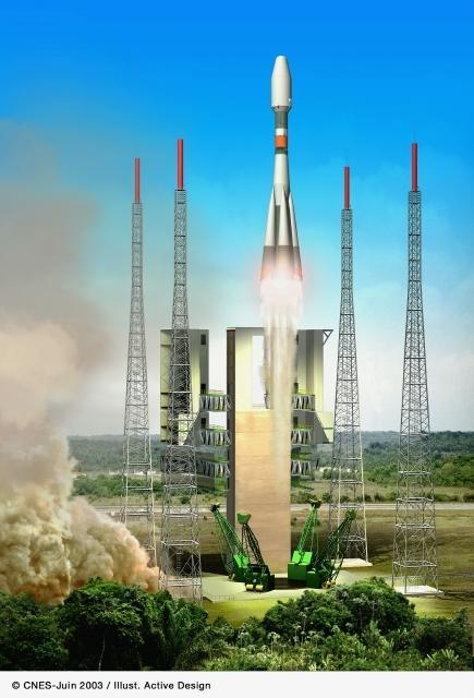 Soyuz in Kourou. Crédits : CNES/Ill. Activ Design