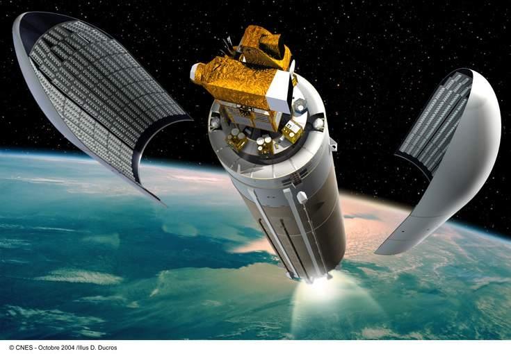 Insertion en orbite de Parasol et Hélios. Crédits : CNES/Ill.D.Ducros