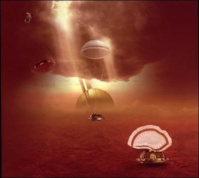 Huygens' parachute descent through Titan's atmosphere. Crédits : ESA