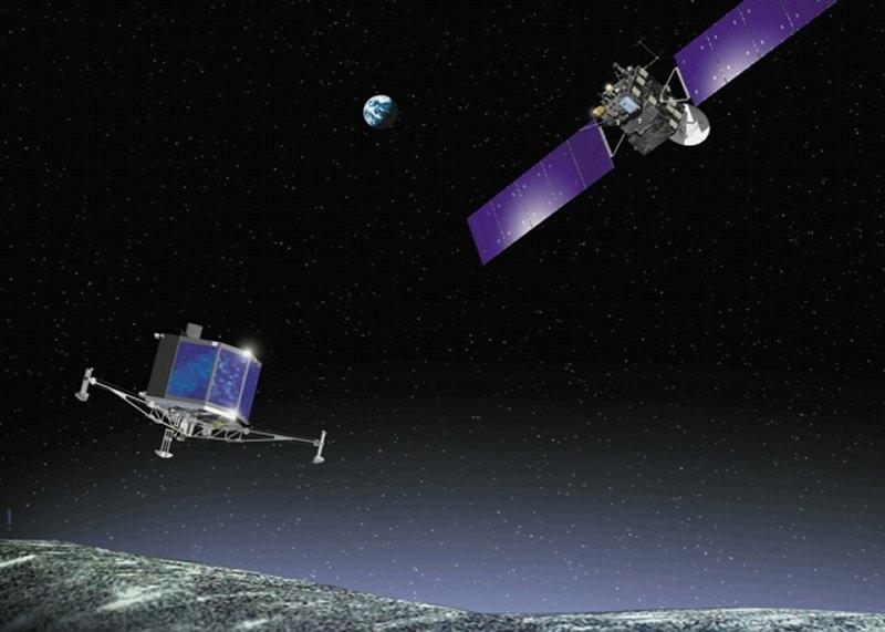 Sonde cométaire Rosetta ; crédits ESA/Ill. Jacky Huart