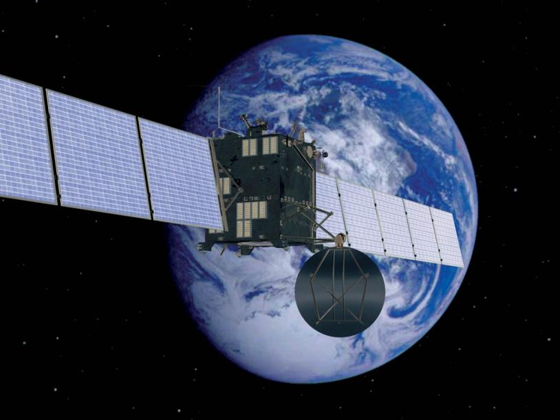 Vue d'artiste de Rosetta lors de sa 1ère assistance gravitationnelle de la Terre. Crédits : ESA/AOES/Medialab