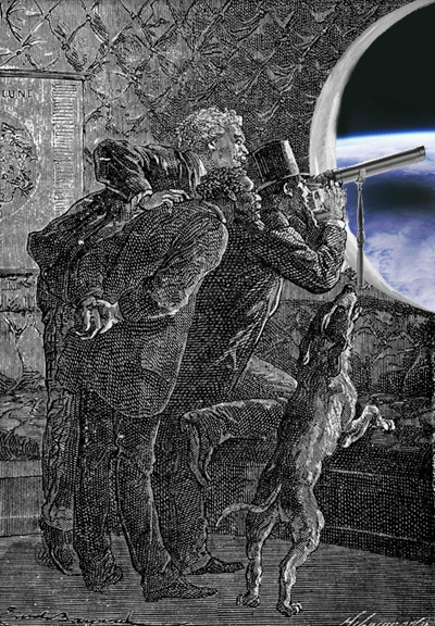Jules Verne characters looking at Earth from space ; credits Hetzel