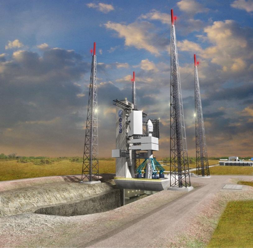 Artist's impression of the Soyuz settlements at the Guiana Space Center ; credits CNES/Cardete et Huet/Les yeux Carrés