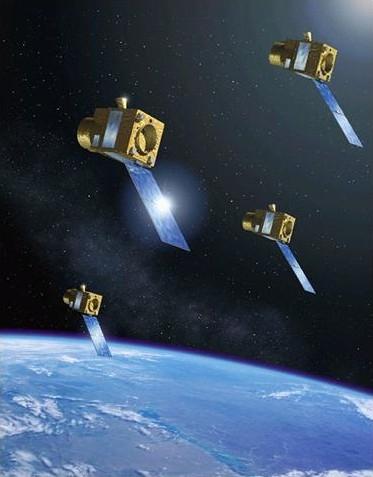 Les 4 microsatellites ; crédits CNES/P.Carril