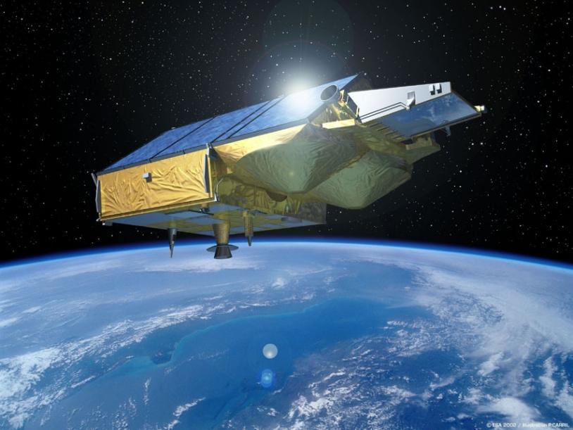 Vue d'artiste du satellite Cryosat ; crédits Esa/P.Carril