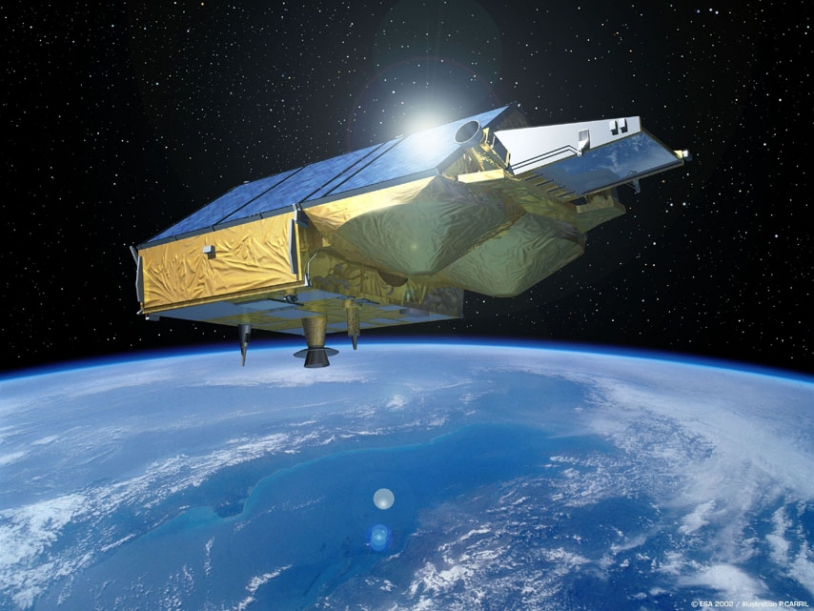 Artist's impression of the CryoSat satellite ; credits Esa/P.Carril