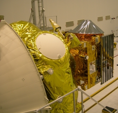 The Venus Express probe and the launcher's Fregat stage ; credits Esa/Starsem
