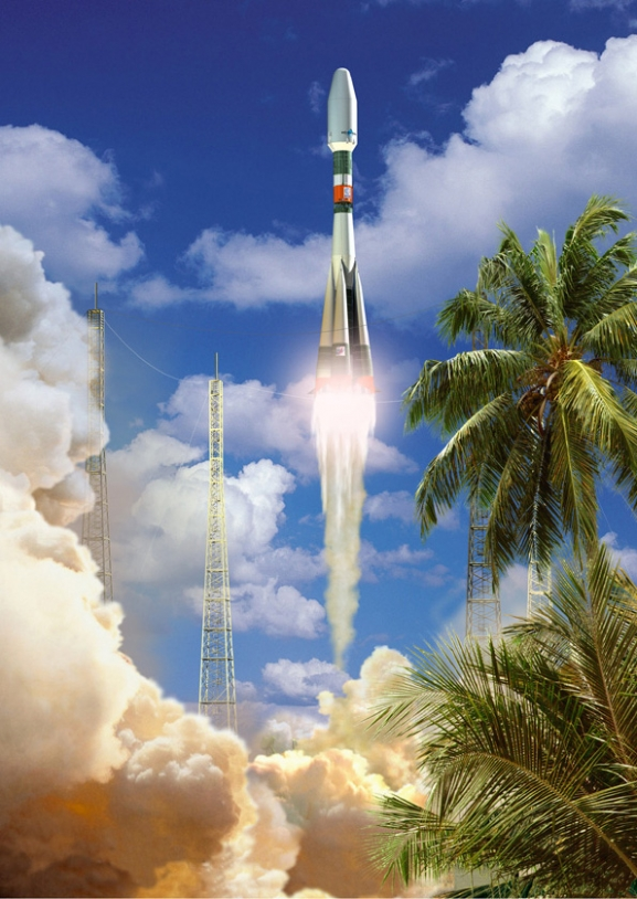 Artist's impression of Soyuz in French Guiana ; credits CNES/Esa/D.Ducros