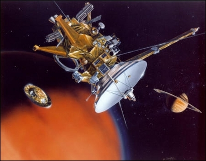 Artist(s impression of Huygens probe and Cassini orbiter; credits: Nasa/JPL/Caltech