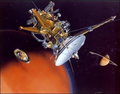 Vue d'artiste de la séparation de la sonde Huygens et de l'orbiteur Cassini ; crédits : Nasa/JPL/Caltech