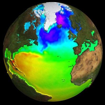 Topographie moyenne des océans, obtenue par altimétrie. Crédits : CLS
