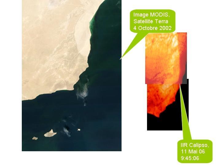 Comparatif des images de Modis et de l'IIR. Le cours des fleuves (image 1) et les différents versants (image 2) sont clairement visibles.