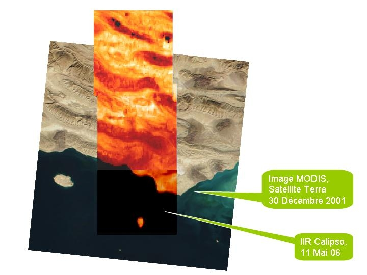 Credits: Nasa for the images Terra/Modis and CNES for the images Calipso/IIR.