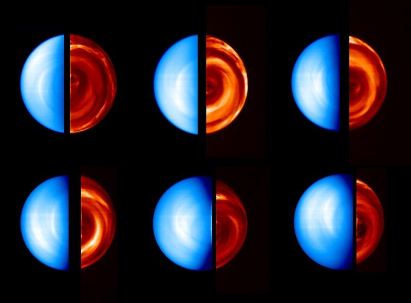Sequence d'images obtenues par Virtis. A gauche, la face jour obtenue dans le visible montre les radiations solaires réfléchies par l'atmosphère. A droite, la face nuit, obtenue dans l'infrarouge, révèle de complexes structures nuageuses. Crédit...