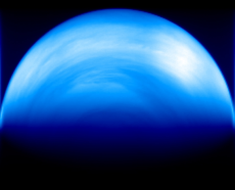 Image de Vénus obtenue par l'instrument Virtis. Elle révèle une structure atmosphérique en forme de strates. Credits: ESA/VIRTIS/INAF-IASF/Obs. de Paris-LESIA