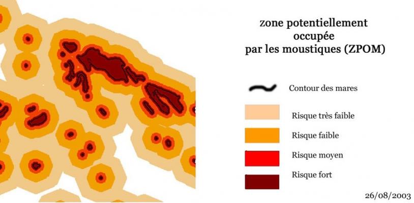Cartographie du risque de présence potentielle d'Aedes vexans, vecteur du virus de la Fièvre de la Vallée du Rift. Crédits : MEDIAS product, CNES 2003, Distribution Spot Image SA.