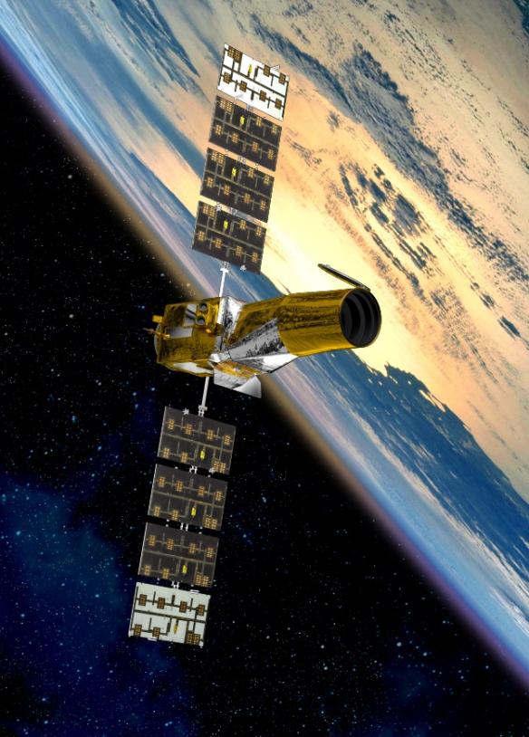 Vue d'artiste du satellite Corot. Crédits : CNES/Ill. D.D Ducros