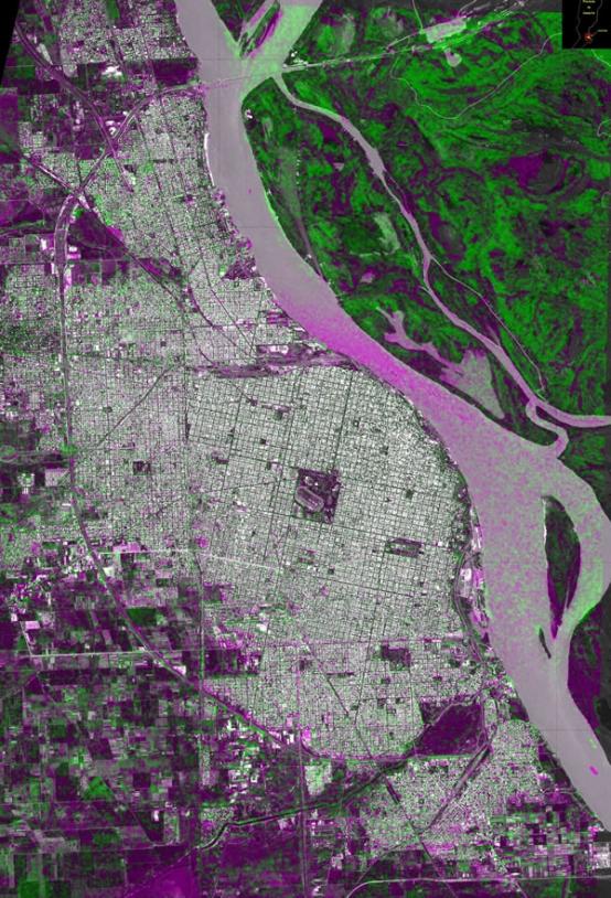 En mars dernier, l'Argentine a été frappée par des inondations et des glissements de terrain. Cette image, livrée dans le cadre de la charte, a été obtenue à partir de données Spot 5 avant la catastrophe et des données Radarsat-1 après.