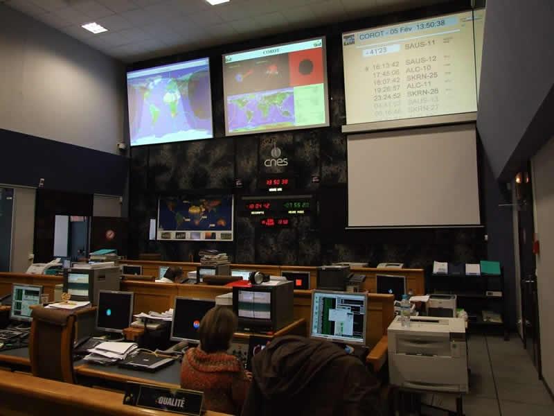 Vue générale salle de contrôle principale. Crédits : CNES/D. Jamet