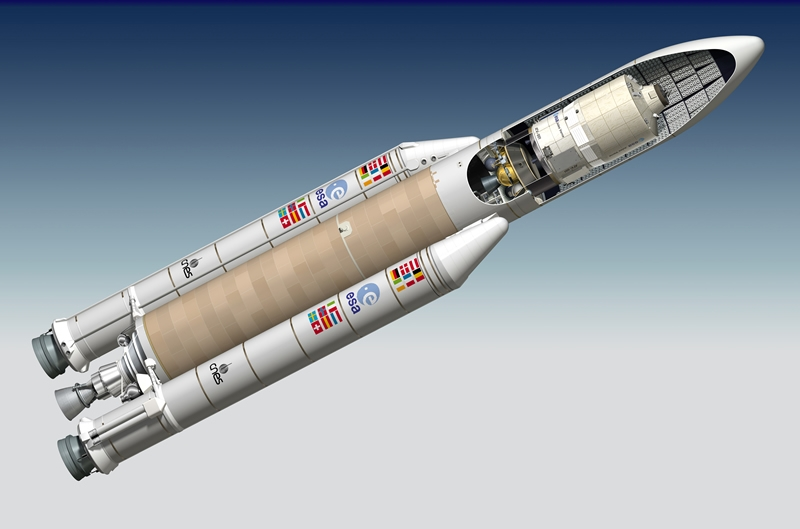 The Jules Verne under Ariane 5's payload fairing. Crédits : CNES/ESA/ill./DUCROS David, 2006