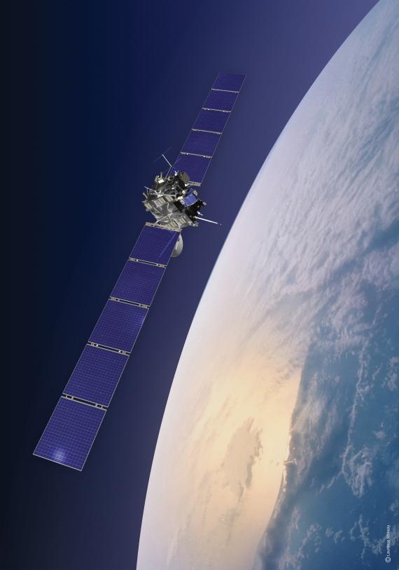Vue d'artiste de Rosetta lors de son passage près de la Terre. Crédits : ESA/CNES/Espace-Médias