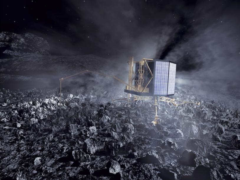 L'atterrisseur Philae sur le sol de la comète. Crédits : ESA/AOES Medialab